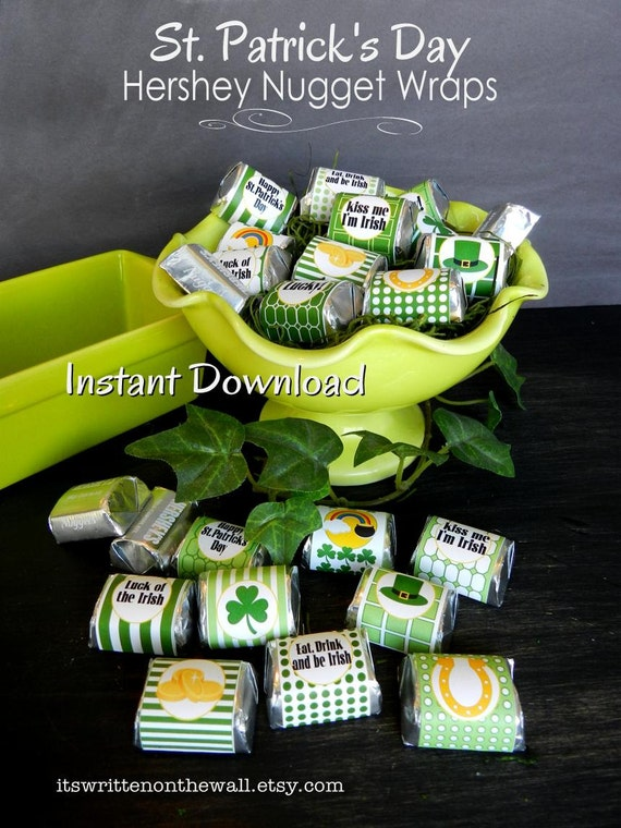 20 St. Patrick's Day Hershey Nugget Wraps / Candy Wraps / Hershey Nuggets / Classroom Treat  / Kids Candy