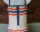 Courreges Paris bathing suit - French designer vintage - mallot suit - red white blue - 80s vintage - Small - size 4 - retro - 4th of July