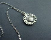 Reserved for Teressa Only -Sterling Silver Sunflower Necklace - Sunflower Necklace - Garden Jewelry - Modern Floral Necklace