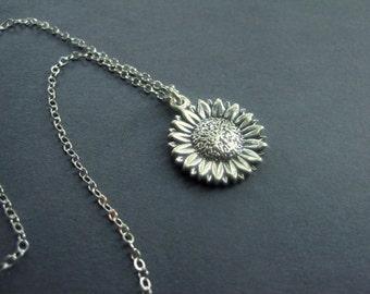 Sterling Silver Sunflower Necklace - Sunflower Necklace - Garden Jewelry - Modern Floral Necklace