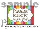 Please Knock sign -pink circus stripe-