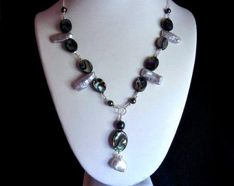 Abalone Drop Necklace with Pearls in Silver