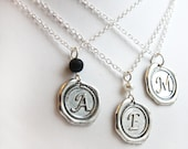 Mothers Day Gift Silver Initial Disc Necklace boyfriend gift Personalized Disk Pendant Sterling silver chain Custom Name wax seal Letter