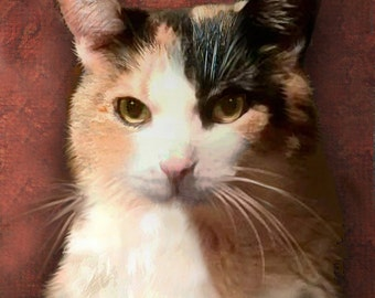 Custom Cat Portrait  Calico on 8 x 8 canvas