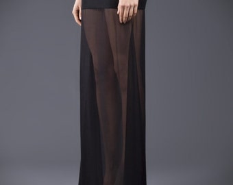 Floor length,black, maxi skirt, Crepe and chiffon, see through, pencil and a line, high quality tailor made, High fashion