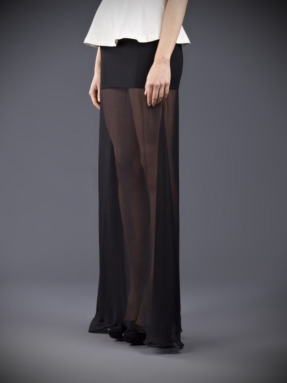 Floor lengthblack maxi skirt Crepe and chiffon see