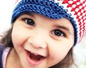 CIJ SALE 2T to 4T Newsboy Hat Cotton Toddler Hat Red White Blue Cotton Hat 4th July Newsboy Stripe Hat Toddler Beanie Photo Prop