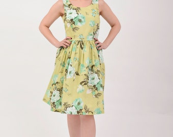 Custom made bridesmaid dress,floral dress, Vintage Inspired dress, Green Apple Dress