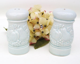 Vintage Turquoise Salt and Pepper Shakers / Porcelain Eames Era Salt Pepper Containers with Fruit Decoration