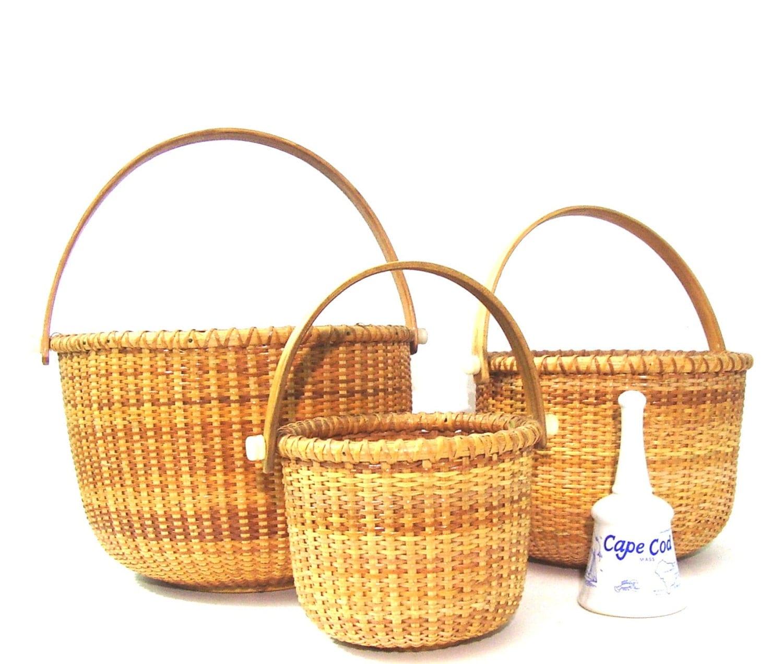 Handmade Nantucket Basket : Vintage nantucket basket cape cod lightship nesting baskets