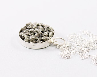 Raw pyrite necklace sterling silver rough crystal jewelry, natural raw gemstone necklace rough stone necklace, natural rough pyrite