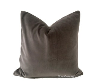 Decorative Throw Pillow Cover- Slate Gray Cotton Velvet 16x16 TO 26x26 Invisible Zipper Closure- Knife Or Pipping Edge