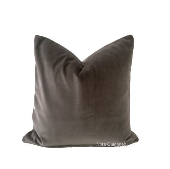 Gray Cotton Velvet Pillow Cover - Decorative Accent Throw Pillows -Invisible Zipper Closure -Knife Or Piping Edge -16x16 to 26x26