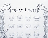 "Type 1 ""Today I Feel"" Interactive Magnetic Illustrated Cat Mood Chart for Expressing Your Emotions"