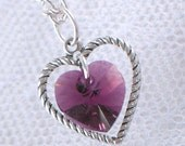 Amethyst Swarovski Crystal Heart Necklace - February Birthstone - Silver Heart Charm - Gifts Under 15