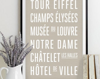 Paris Subway Sign Wall Art Typography Poster - Modern Art Print