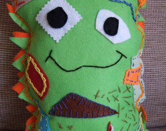 Felt monster alien cushion toy soft doll & travel pillow for Children, Baby.Suitable from birth. Handmade Toy Holiday gift ,Christmas gift