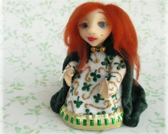 Irish Girl Art Doll One of a Kind Blathnat Celtic Gaelic Red Haired Fairytale Folklore Fantasy St Patricks Figurine Polymer Clay Sculpture