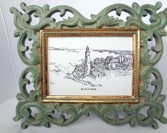 Lighthouse Art Print, Costal, Village, Island, Seascape, Ocean Note Card, Gift Idea, Ink Pen Illustration, Drawing, 5 X 7 ,Black