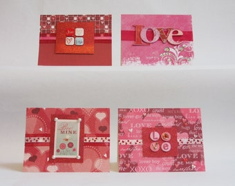 Red Love Valentine's Day Cards - Set of 4