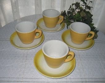 Sunny Yellow Jackson China Teacups & Saucers, Set of 4 Coffee Cups, Retro 1950s Kitchen Diner, Pastel China, Bungalow Cottage Kitchen