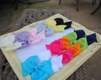 Girls Hair Bows - 12 Toddler Hairbows - Birthday Gift Set - Buy 10 Get 2 FREE - You Pick Colors - Half Pinwheel Bow - Gift for Birthday Girl