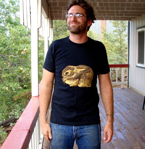 Baby Cottontail Rabbit tshirt - eco friendly gold and brown screenprint on black cotton - adult unisex mens sizes XS, M, L, XL