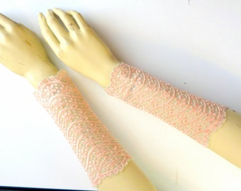 Fingerless Lace Gloves, Gauntlets, SM/M, Pale Pink Mint Sage Green Embroidered Amythest Floral, Wedding Gothic Victorian Tribal Bridal