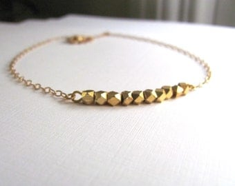 Gold geometric necklace with small 22k gold plated faceted beads, delicate 14k gold plate chain, gold nugget necklace