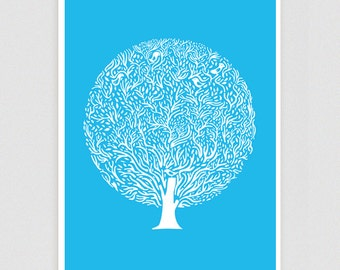 Blue Tree Poster - Different Sizes