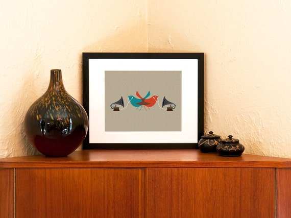 Dueling Audiophiles Art Print - Modern Birds with Old School Gramophones and Ear Buds (Free Shipping in US)