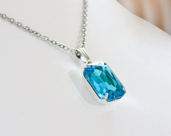 Aquamarine Blue Necklace Aqua Blue Crystal Rhinestone Necklace March Birthstone Gift Idea Wedding Bridesmaid Gift Something Blue Prom