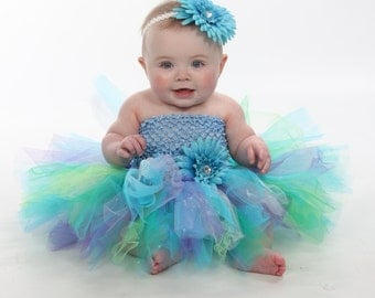 Dress Only Peacock Colors Blue Green Purple Boutique Tutu Dress for Baby Girls NB Up to 2T Larger Bigger sizes available and additional