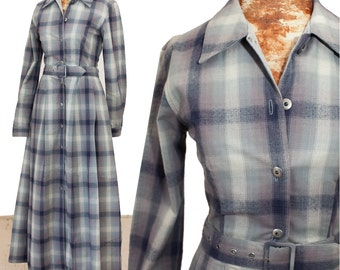 90s ARMANI JEANS Dress, Gray Plaid Flannel Cotton Shirtdress, size 2 small, Long A-Line Shirt, Fitted Tailored, Soft Grunge