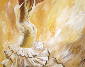 Flamenco -  Flamenco dancer painting in white ruffled dress with earth tone color back ground-  print on paper