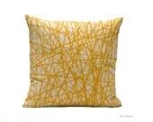 Mustard cushion. Geometric pattern by BeccaTextile