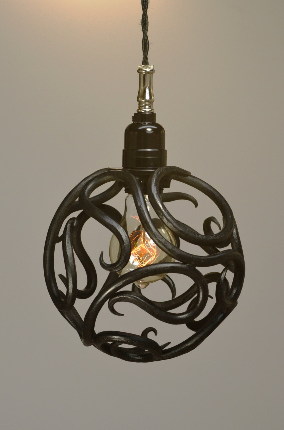 Hand Forged Scroll Ball Pendant Light