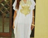 Resort Caftan Kaftan Marrakech Style- White with Gold Embroidery, beach cover ups, resort wear, loungewear, kaftan,caftans