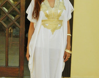Resort Caftan Kaftan Marrakech Style- White with Gold Embroidery, great for beach cover ups, resort wear, loungewear, kaftan,caftans