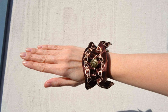Nautical brown satin & linen chain ruffle cuff fabric bracelet, vintage anchor brass button upcycled chocolate cream Summer Sailor resort