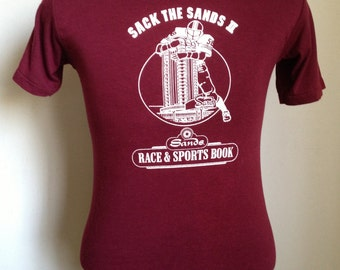 80s Vintage Sack the Sands Las Vegas Nevada casino football college ncaa university nfl T-Shirt - SMALL