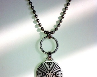 Labyrinth Necklace, Celtic, Silver Maze, Sacred Geometry, Spiral, Nomad, Unisex, Bohemian Jewelry for Men & Women