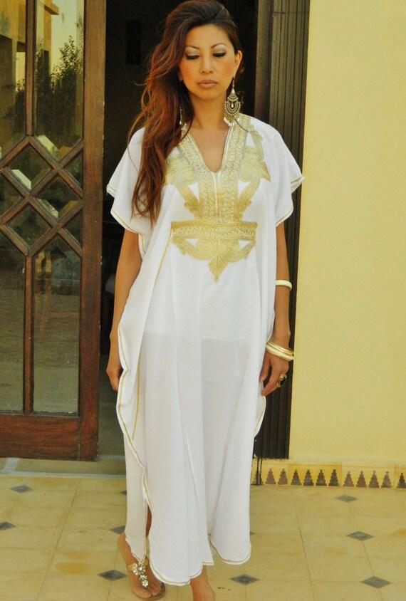 Bridesmaid gift, Bridesmaid robe, White Gold Marrakech One Size Resort Morocan Kaftan- wholesale, Beach wedding, bridal shower party, lounge