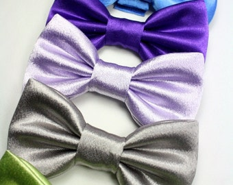 Dog Cat Bow Tie Bowtie Satin Wedding Formal Collar Attachment Blue Green Platinum Removable Formal Add-On