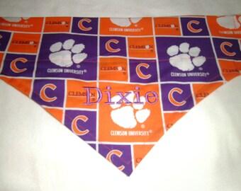 Clemson Tigers Paws Monogram, Over the Collar Dog Bandana, Scarf, Football