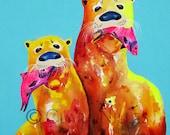 Miniature Archival Watercolor Paper Print, Copper Otters & Fuchsia Fish, 3.5x6.5, Oranges, Turquoise, River Otters, Bright, Vibrant Colors