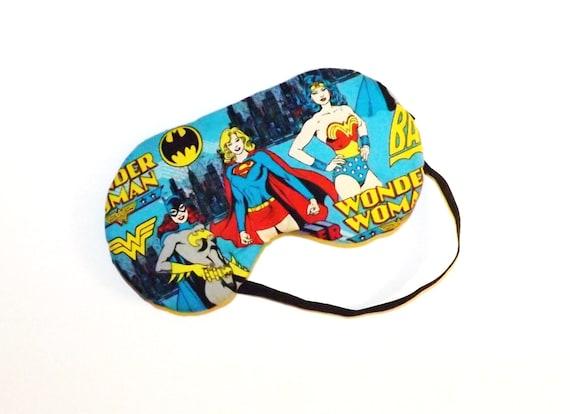 Sleep Mask -  Bat Girl, Wonder Woman, Super Woman Blue Background - Comes as Shown - Handmade - Fits Kids to Adults