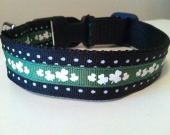 1 Inch Black Polka Dot and Shamrocks St. Patrick's Day Dog Collar