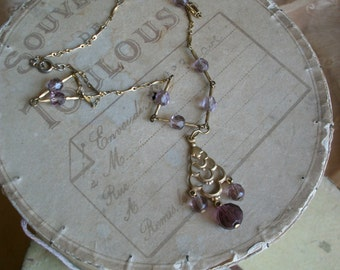 Vintage French Necklace Glass Bead Amethyst Mauve Glass Beads ~ Easter Gift ~ Mothers Day