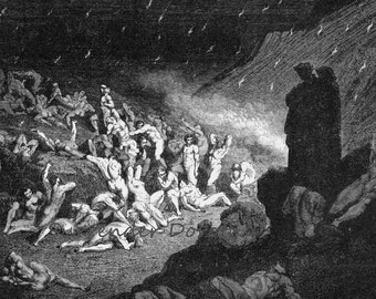 Violent Tormented Rain Of Fire Inferno Canto 14 Vintage Engraving by Gustave Dore